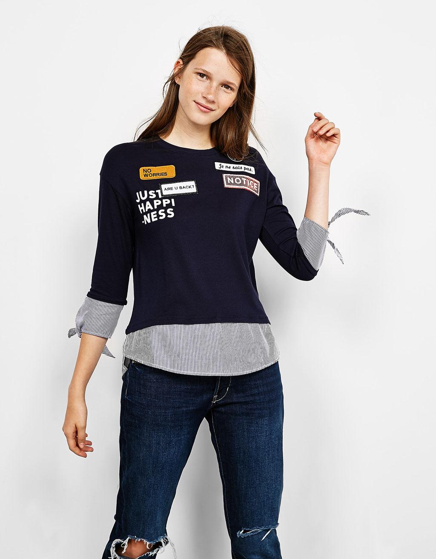 Camiseta mangas y bajo camisero parches