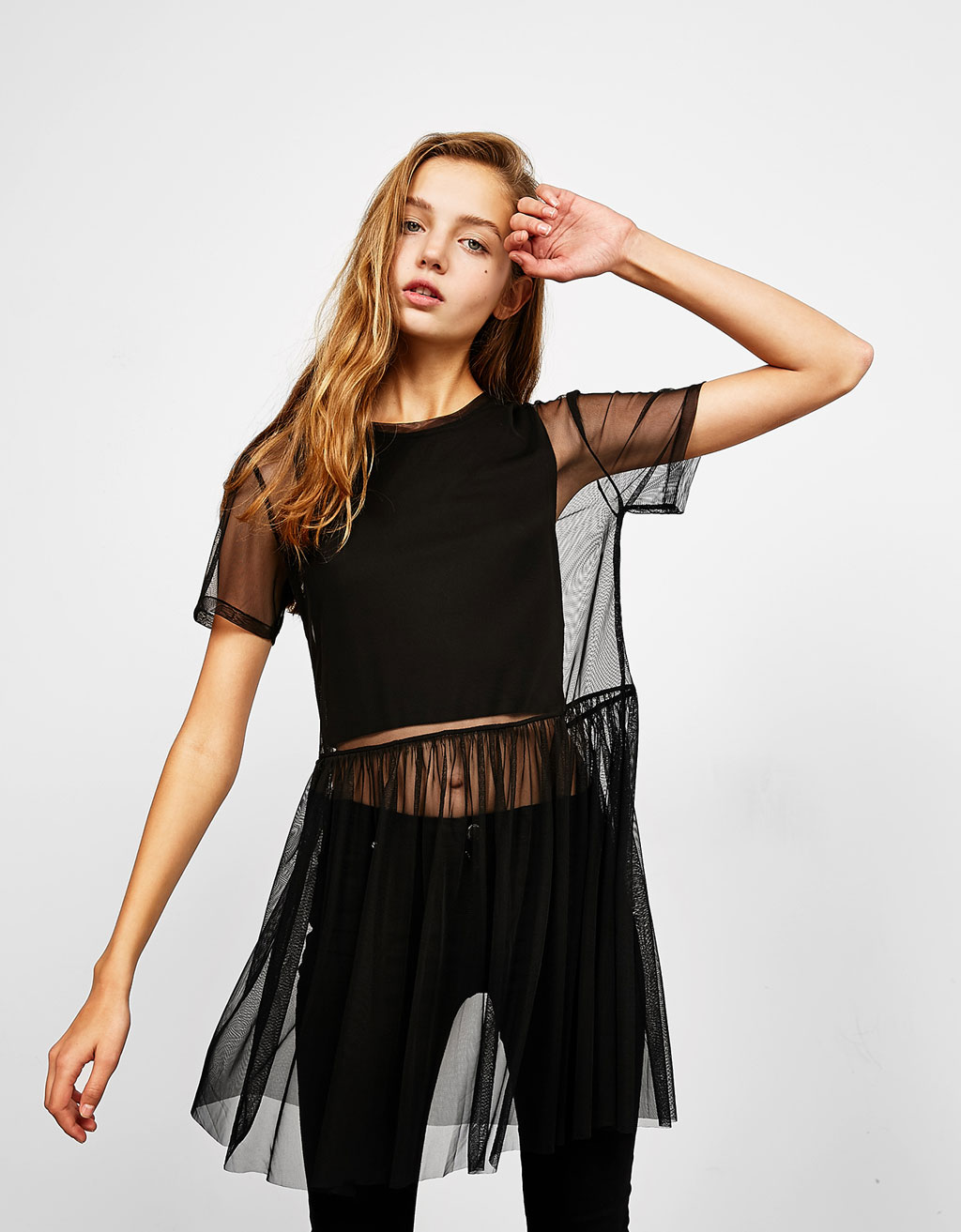 Double layer tulle T-shirt with tutu