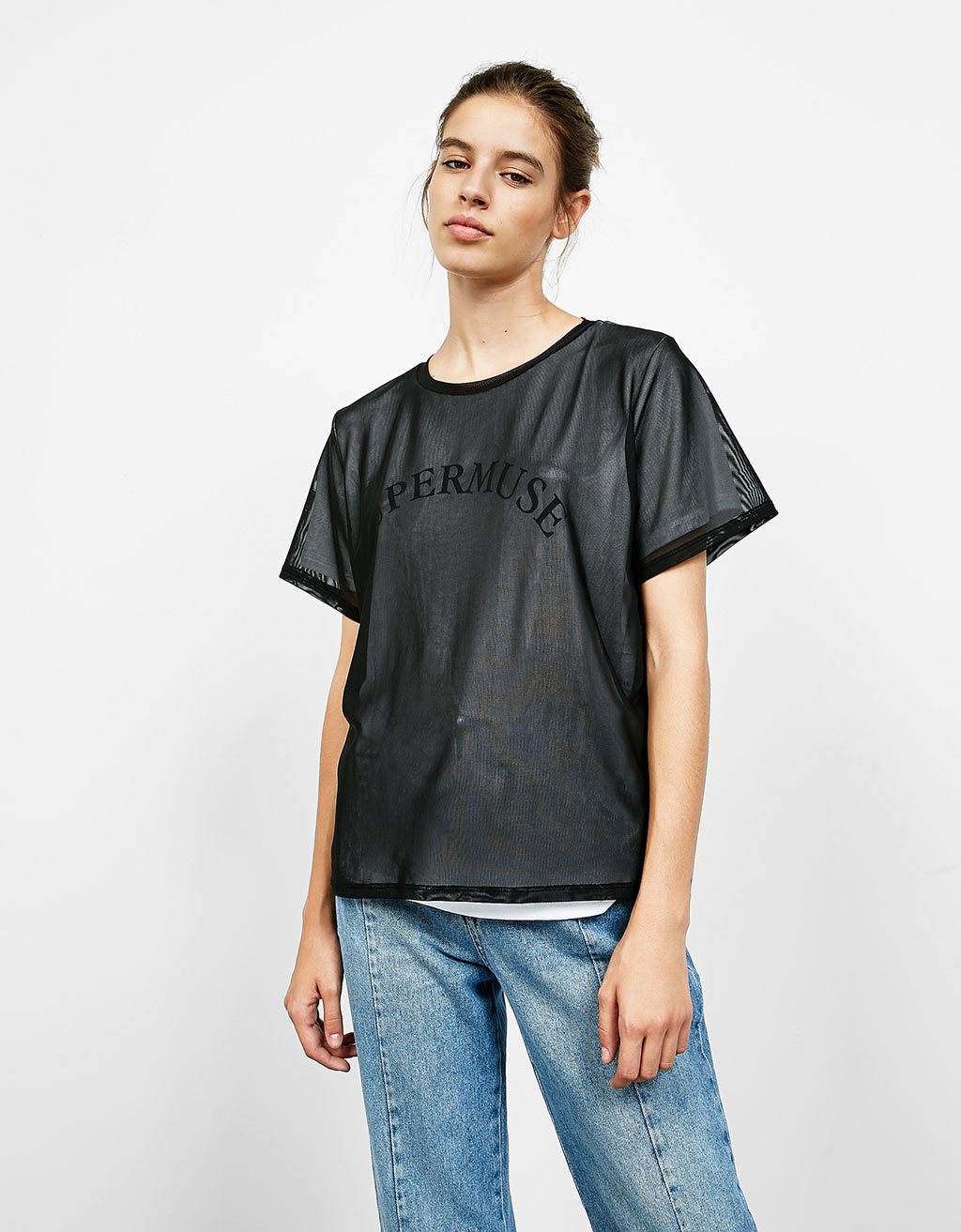 Double layer tulle T-shirt