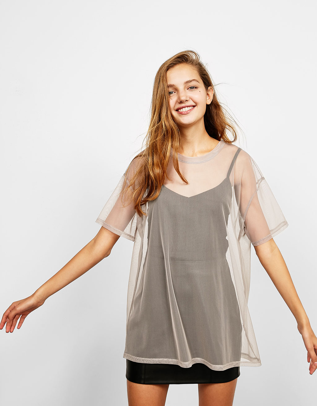 Oversized tulle T-shirt