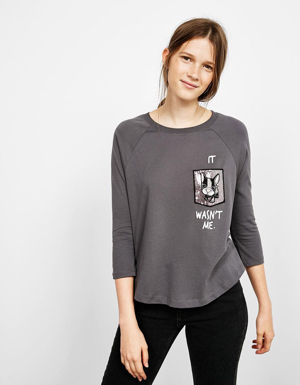 Camiseta manga 3/4 bolsillo lentejuelas