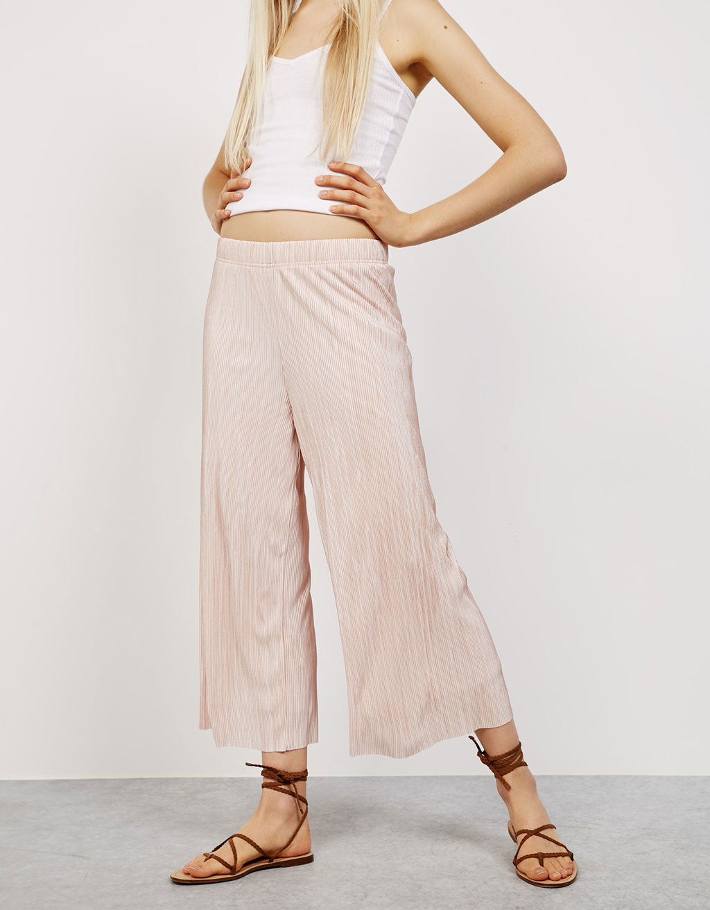 Striped pleated culotte trousers