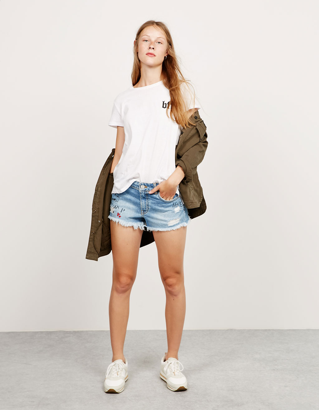 BSK embroidered denim shorts with text