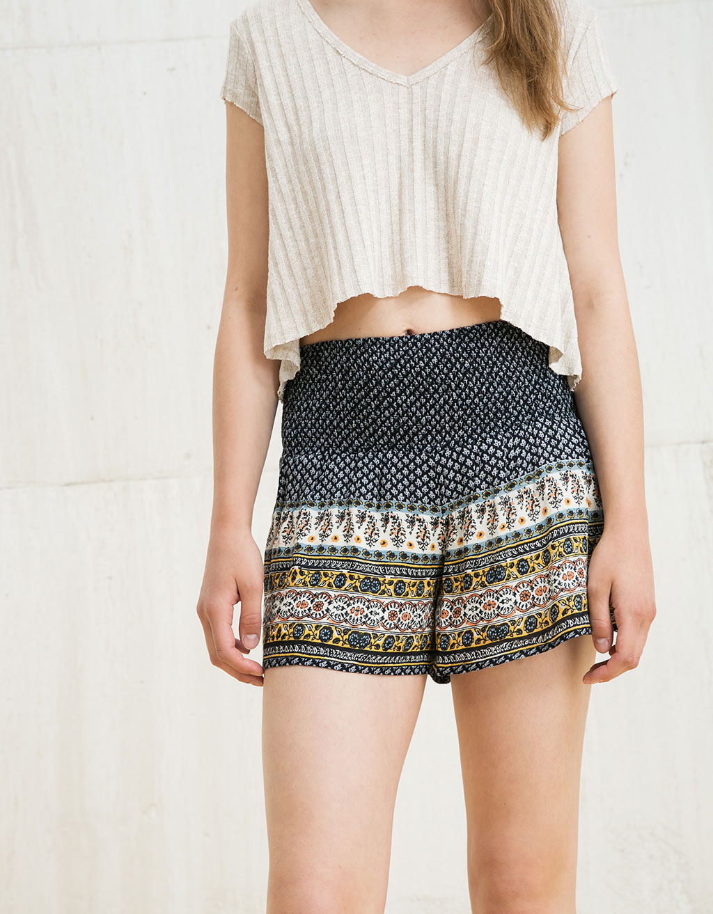 BSK print shorts with elastic waist