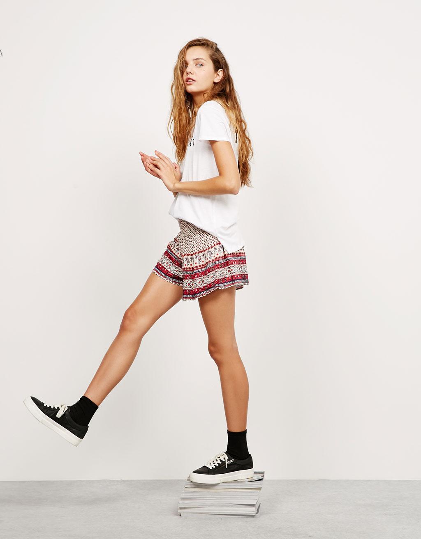 BSK smock waist print shorts