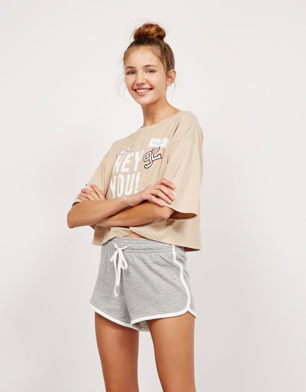 BSK terry shorts with contrast detail