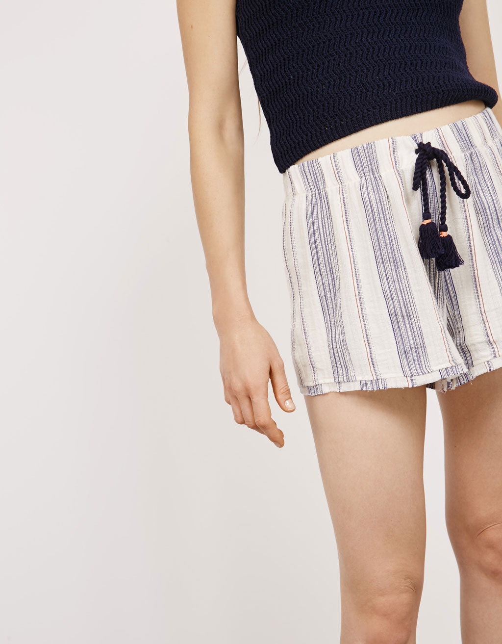 BSK striped shorts with pompoms