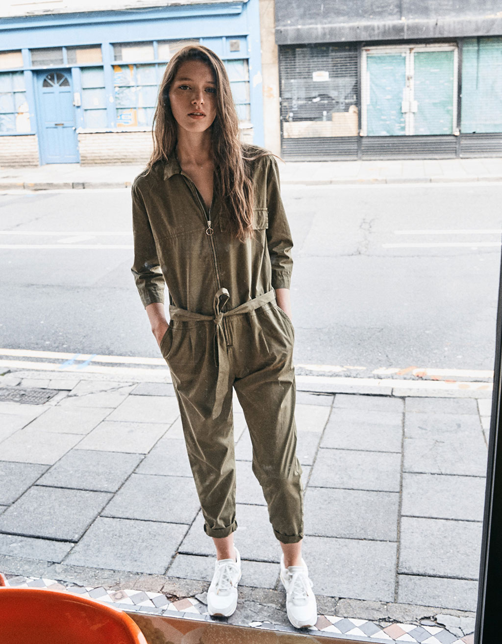 Long utility jumpsuit with zip