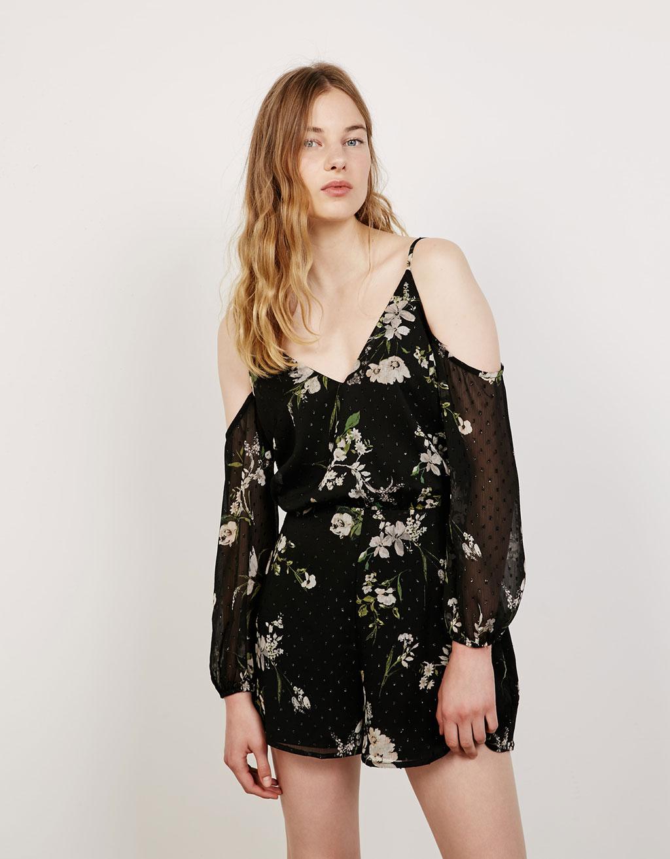 Floral print shimmer plumetis jumpsuit
