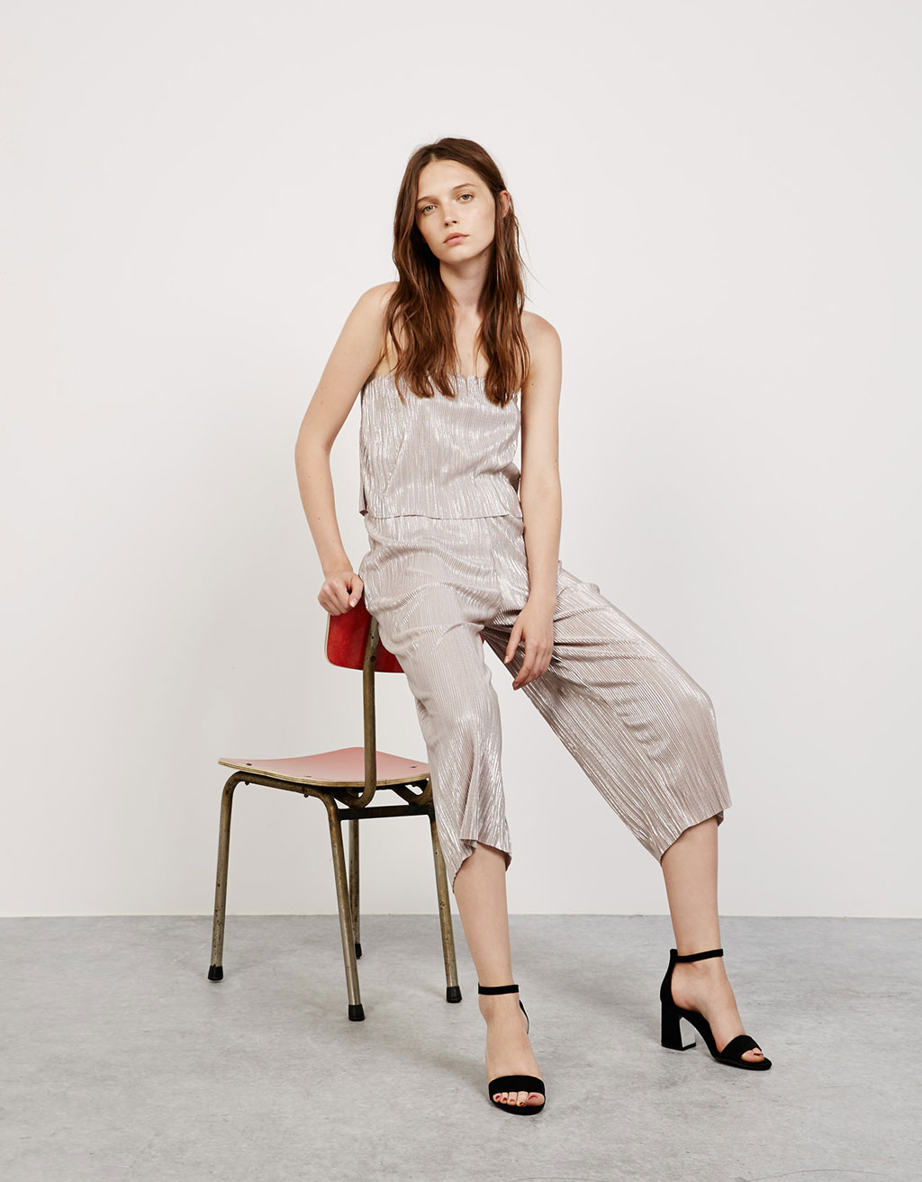 Ruffled straight neckline metallic jumpsuit