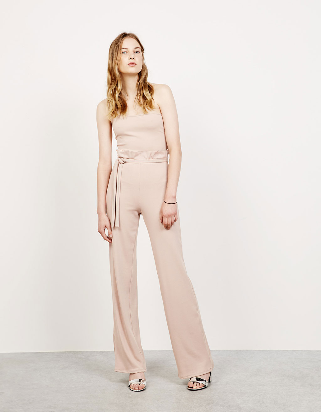 Long asymmetric ribbed jumpsuit