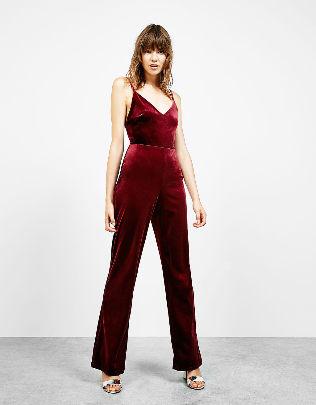 Strappy wide leg velvet jumpsuit