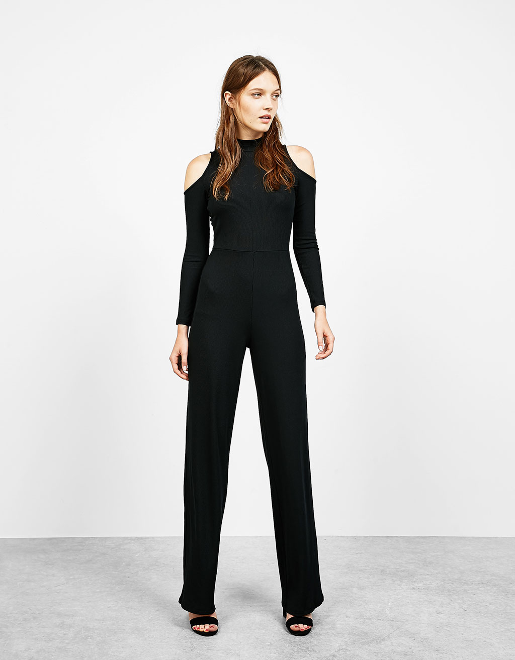 Long off shoulder ribbed jumpsuit