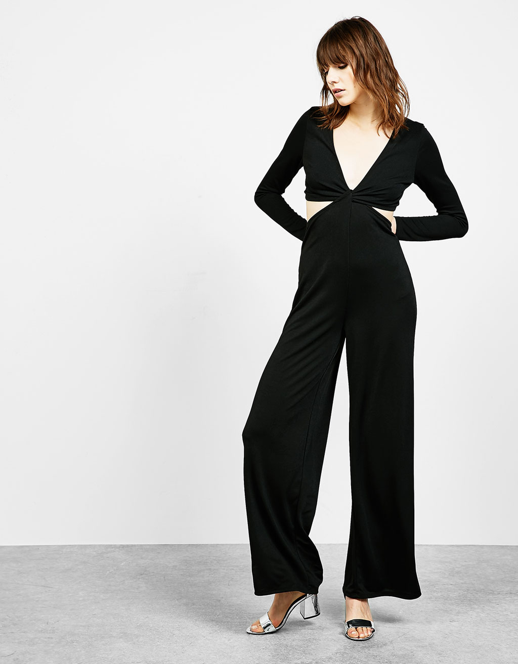 Long crepe jumpsuit with front knot
