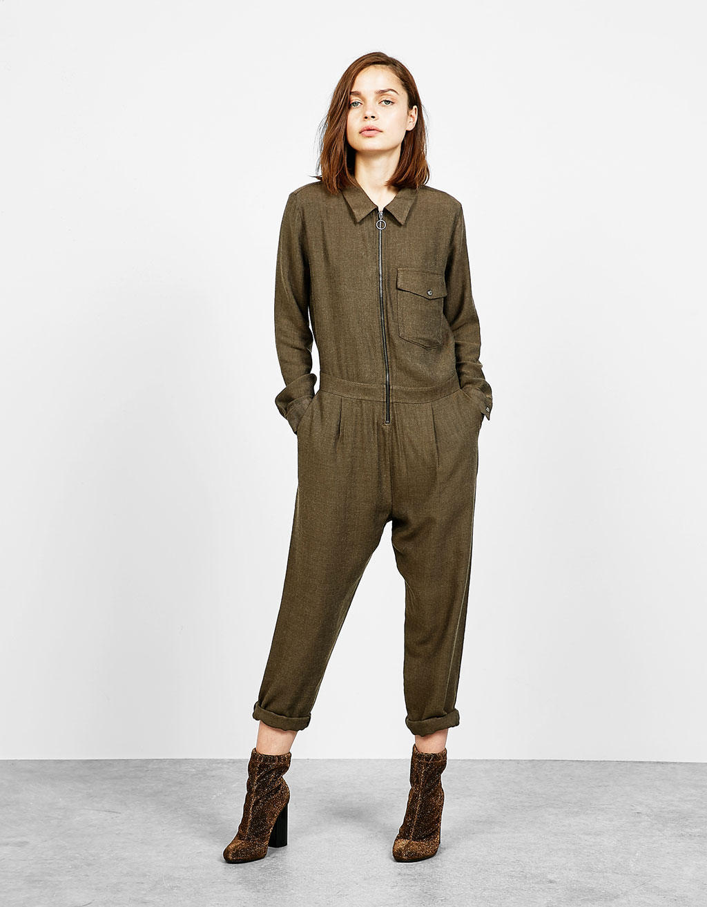 Herringbone utility jumpsuit with pocket