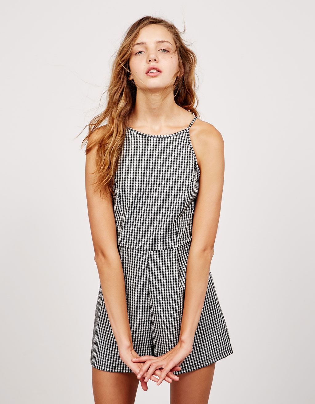 BSK checked gingham jumpsuit