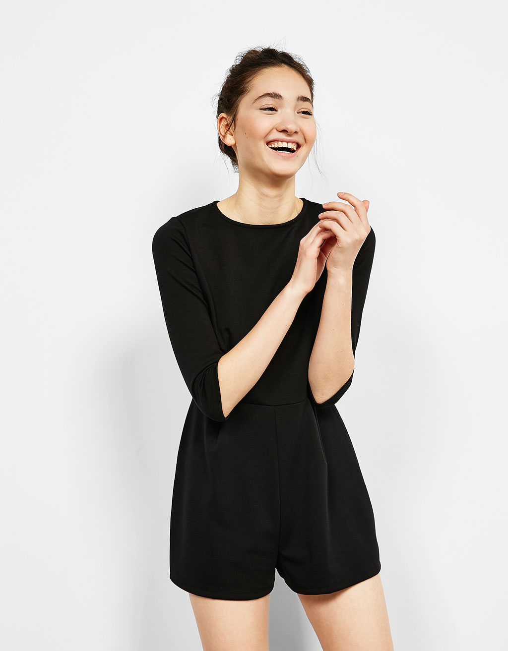 Ottoman short jumpsuit with 3/4 length sleeves
