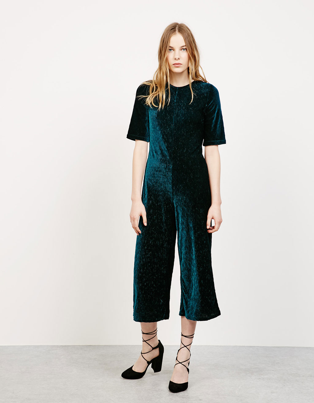 Cropped velvet jumpsuit