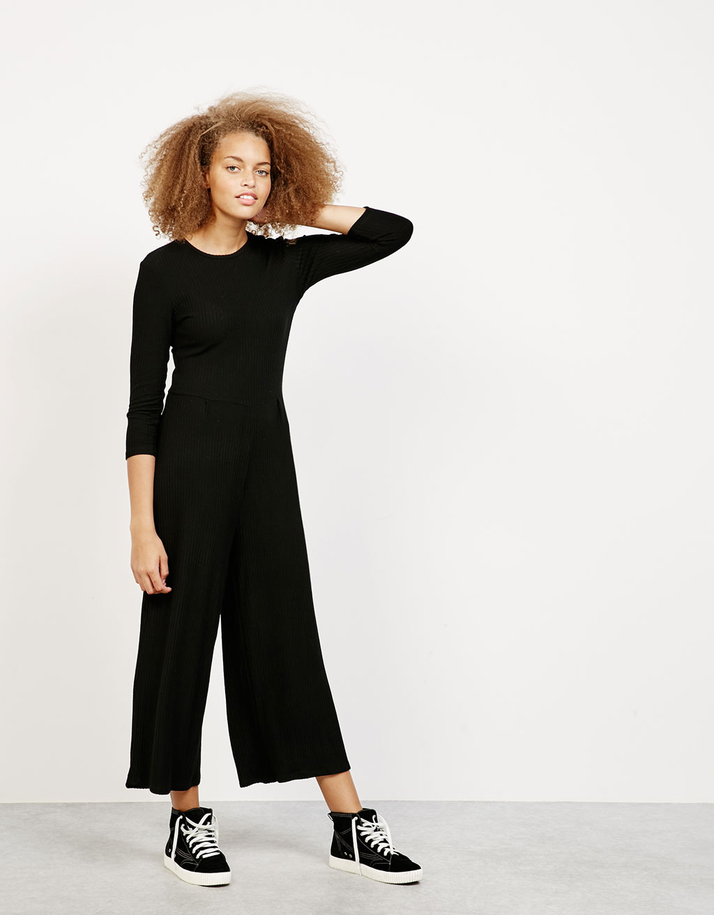 Cropped jumpsuit i rib