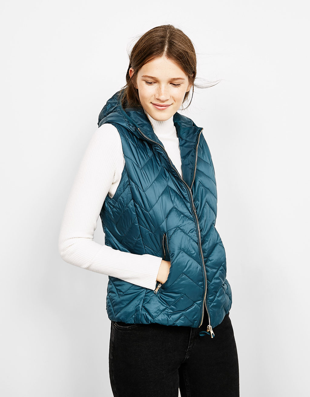 Hooded lightweight nylon vest