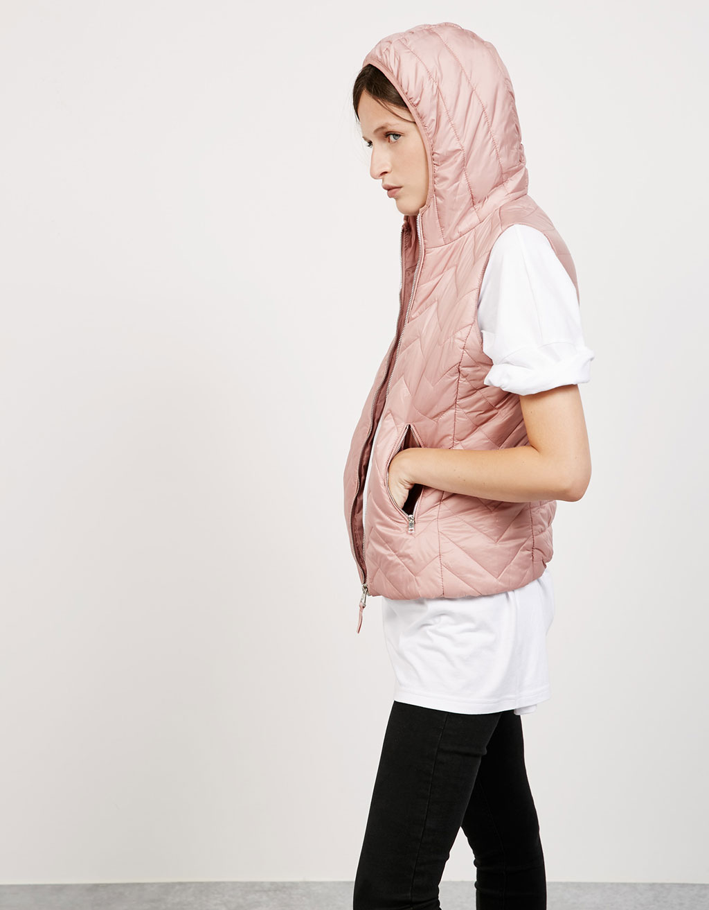 Hooded lightweight nylon vest