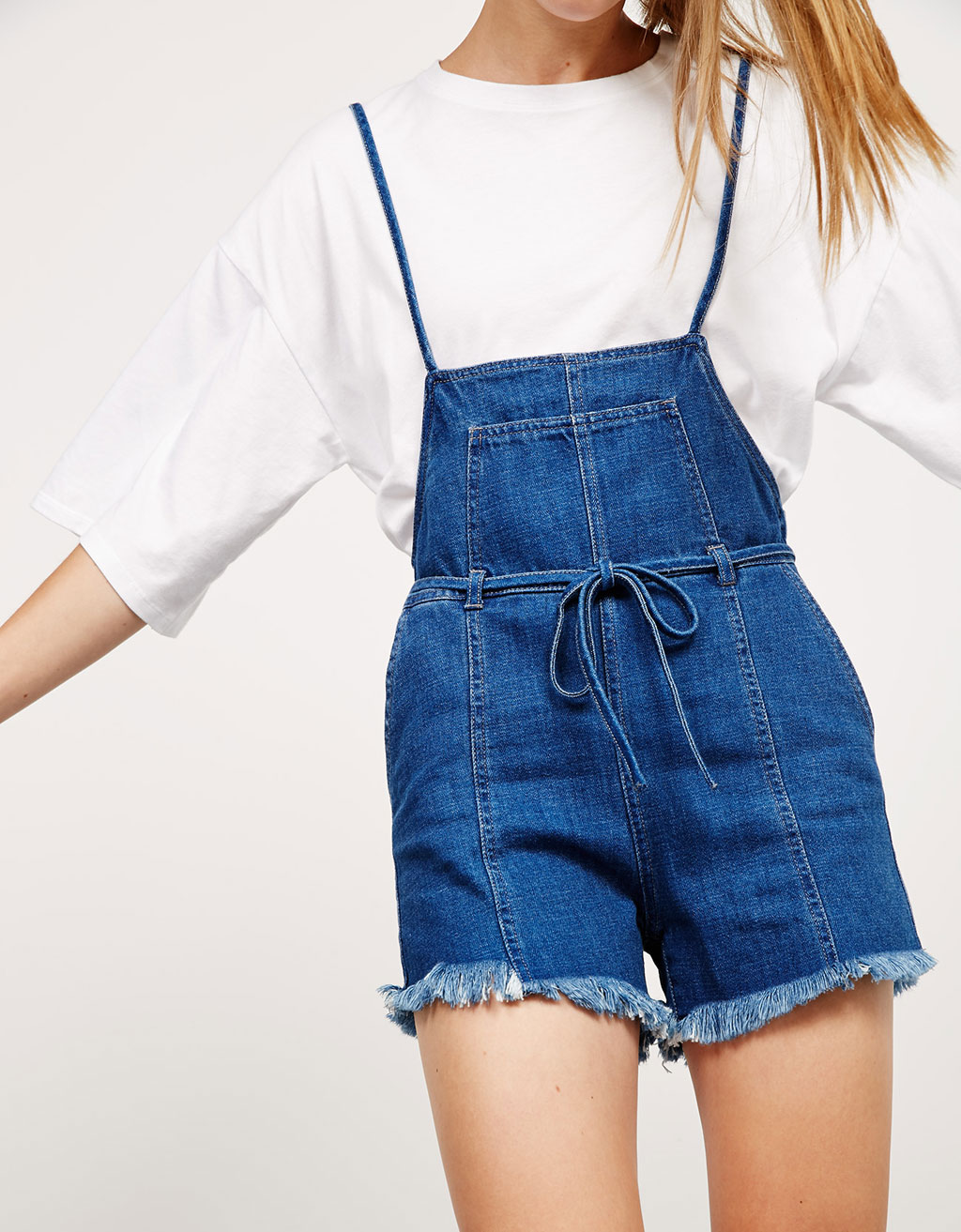 BSK short denim dungarees with frayed hem