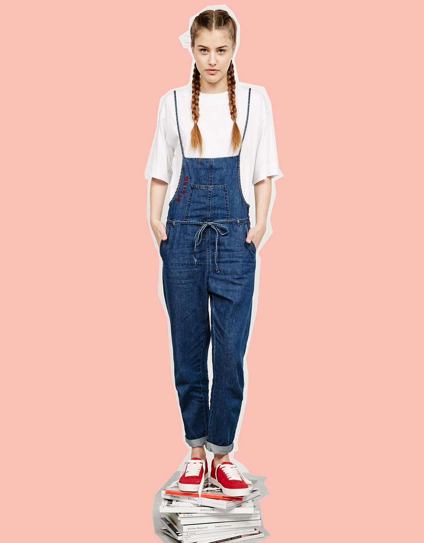 BSK Jeans-Latzhose mit Kordel an der Taille