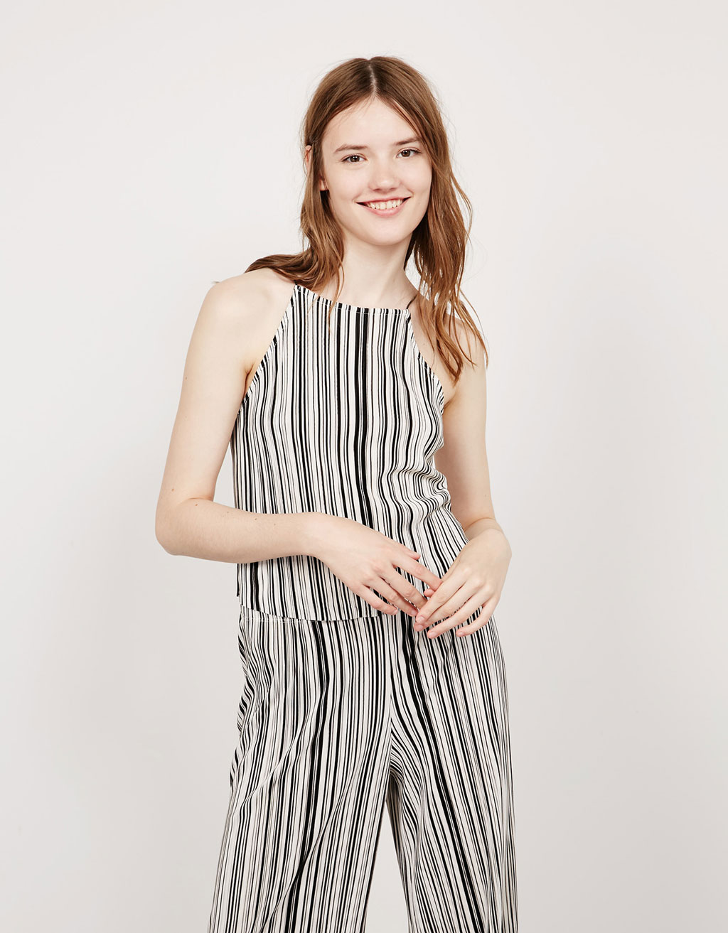Halter neck striped pleated top