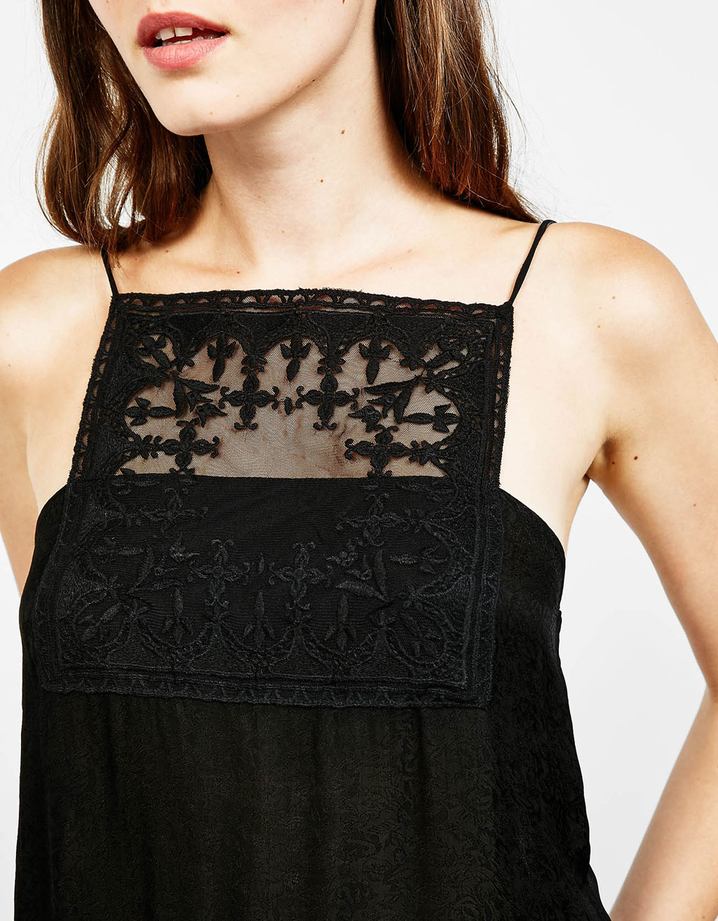 Jacquard bodysuit with gothic embroidered tulle