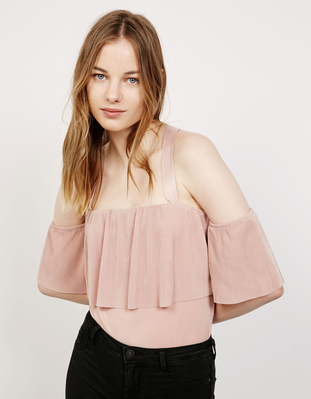 Micro-pleated ruffle bodysuit