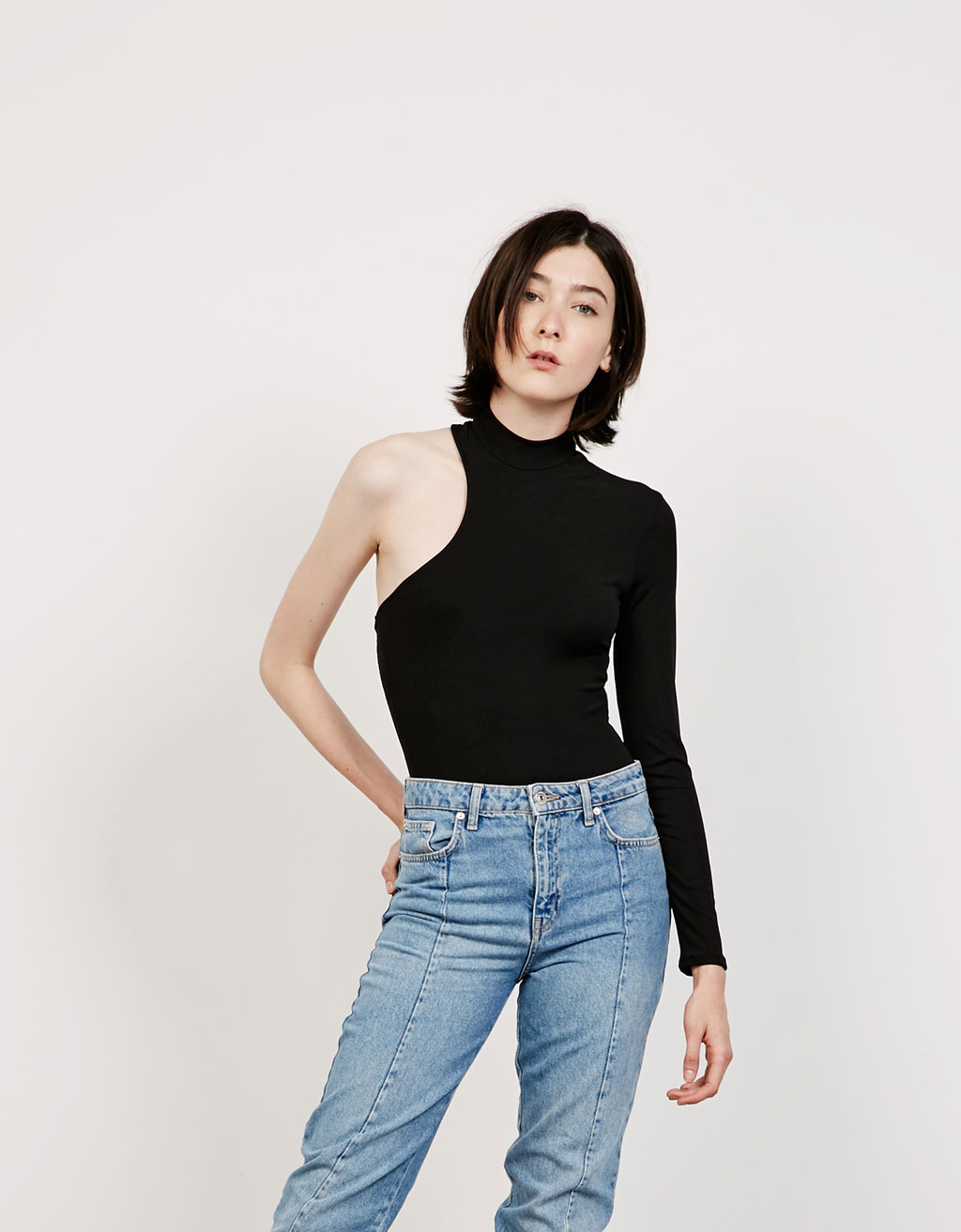 Asymmetric ribbed bodysuit
