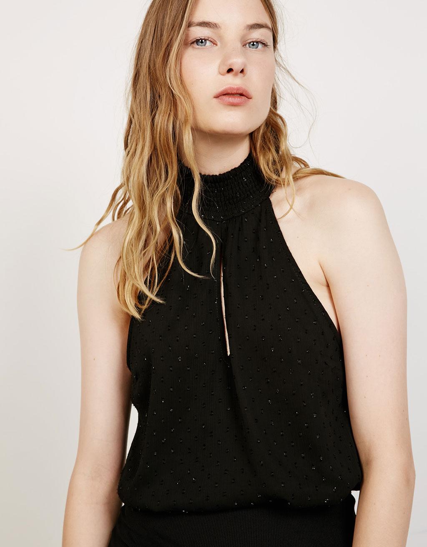 Halter neck shimmer plumetis bodysuit