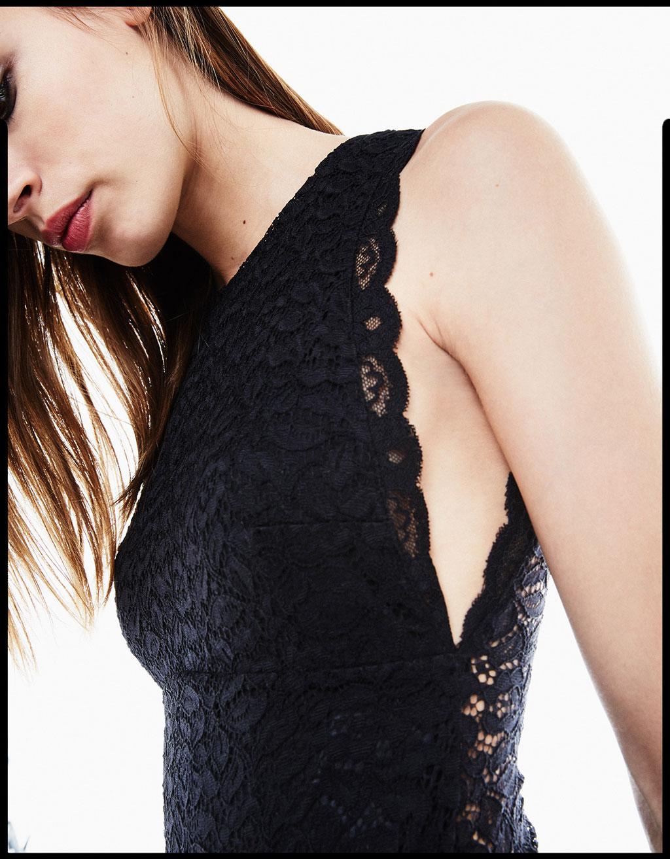 Blonde lace bodysuit with lace trim