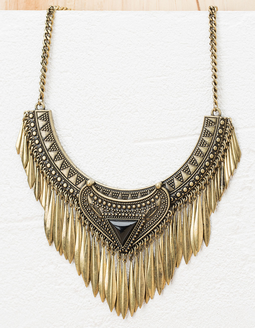 Fringed ethnic torque necklace
