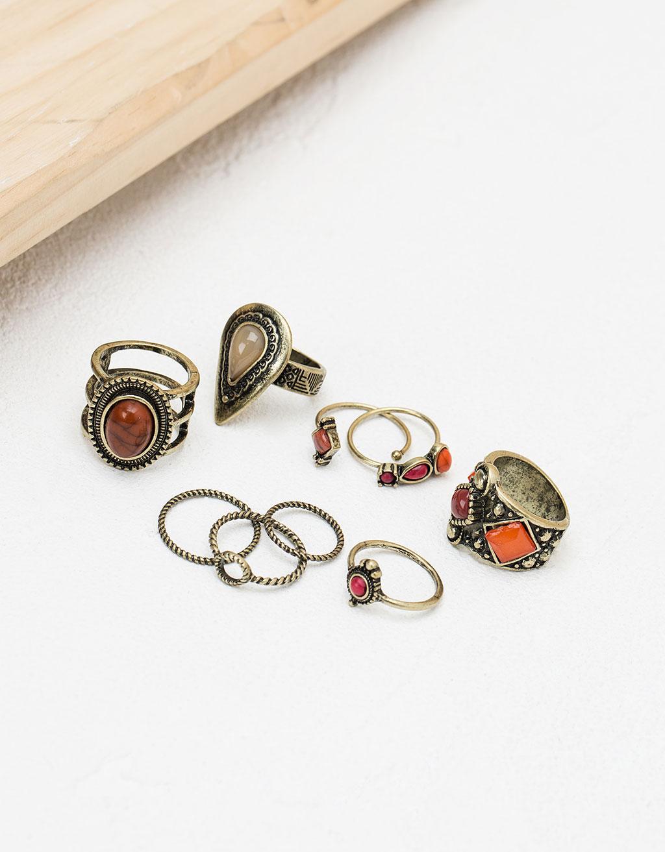 Σετ από δαχτυλίδια με πετράδια