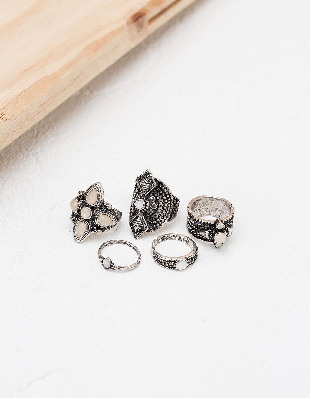 Set de anillos bohemios piedra