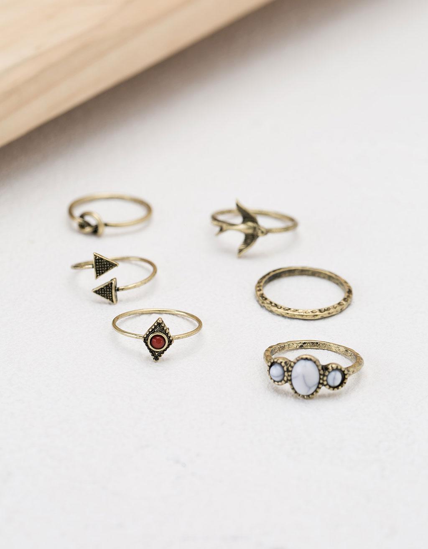 Set de anillos piedra minimal