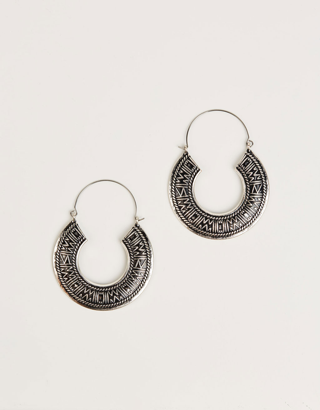 Embossed bohemian hoop earrings