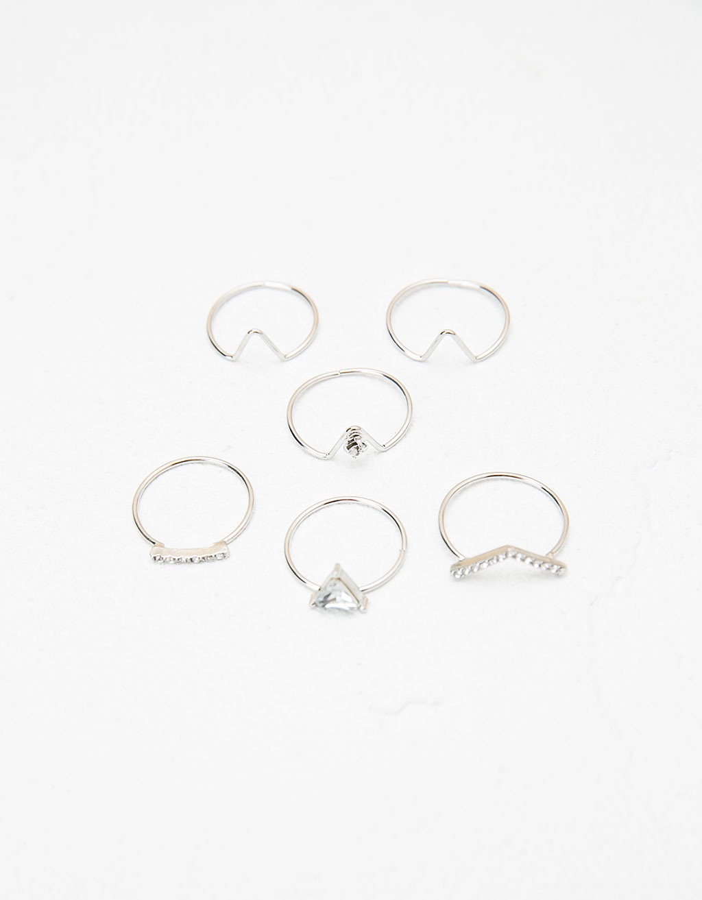 Silver stone ring set