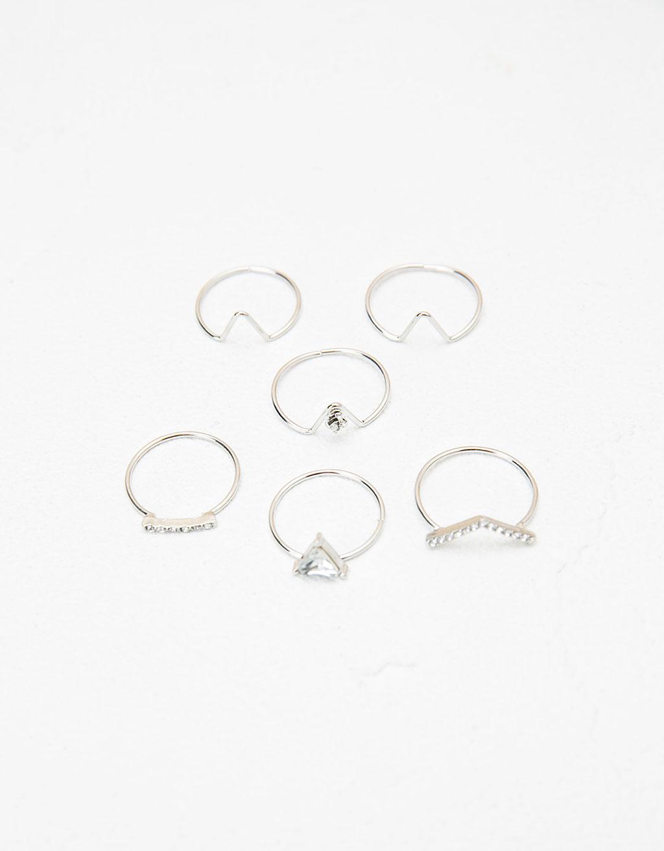 Set anillos piedra plateada