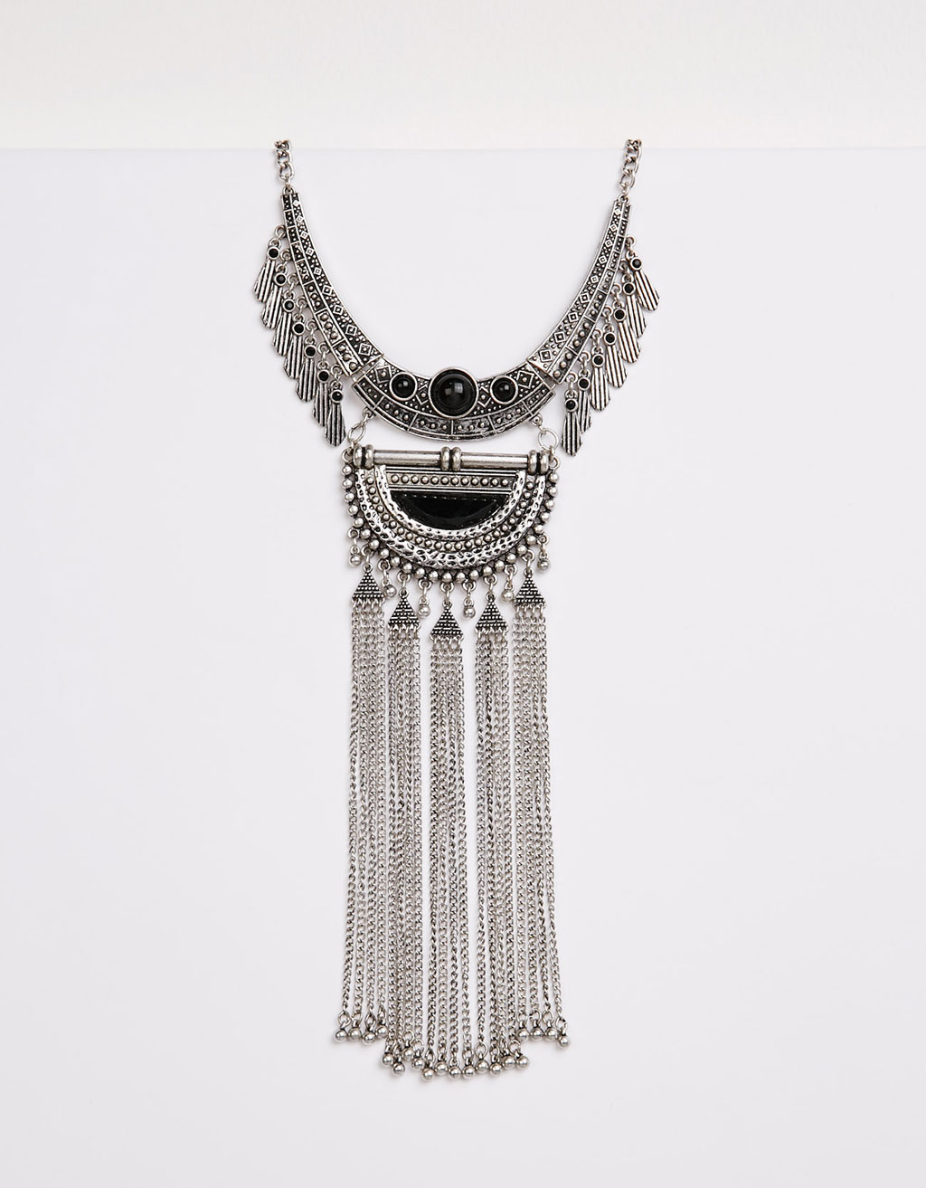 Short, maxi fringe boho necklace