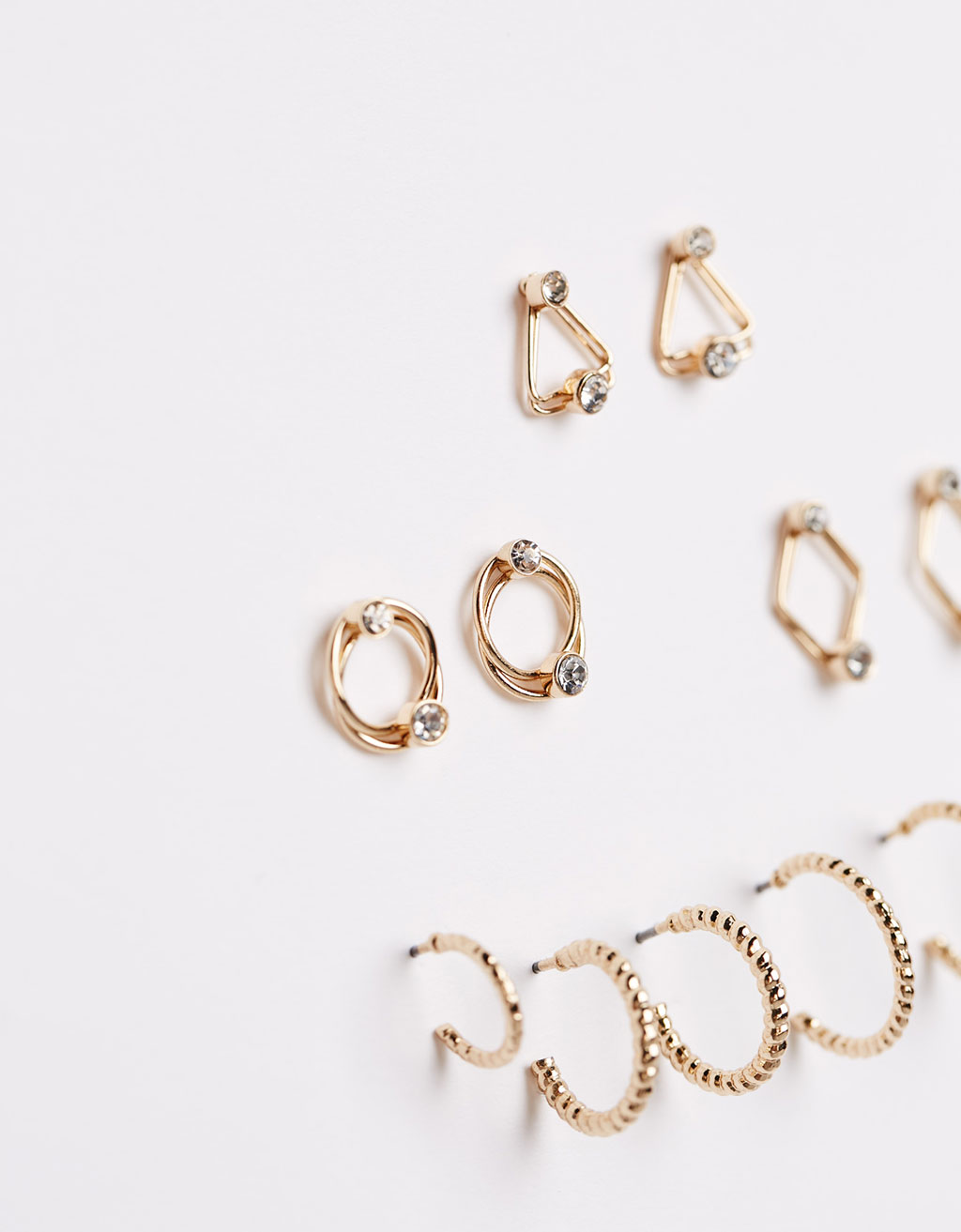 Minimal earrings with stones and mini arrows (set of 6)