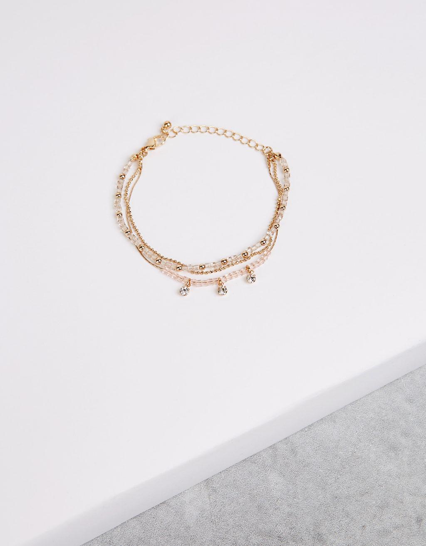 Pastel gem detail 3-chain bracelet