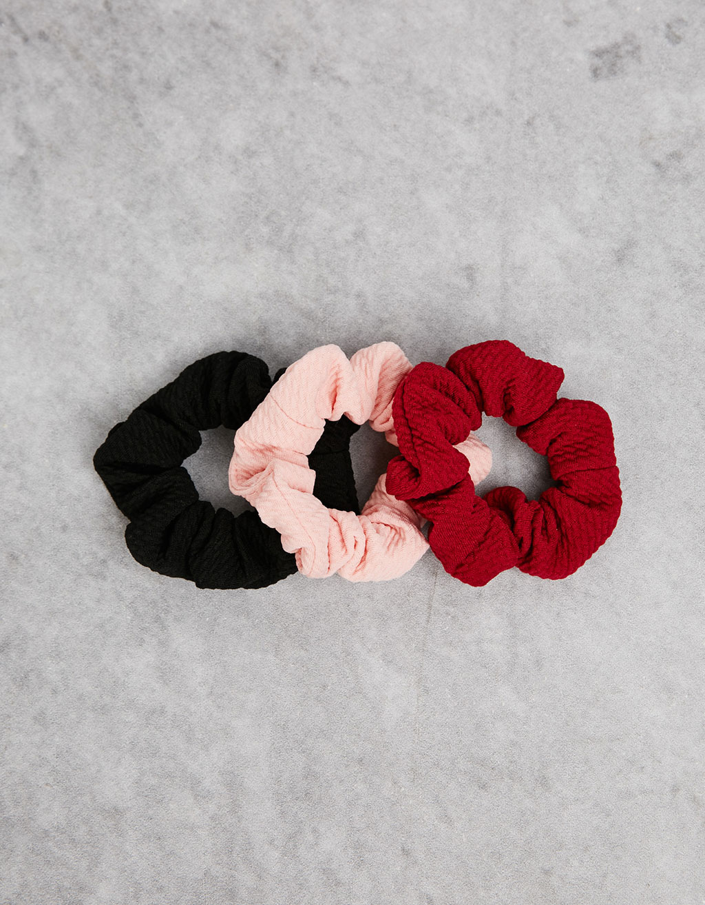 Textured hair scrunchies (set of 3)
