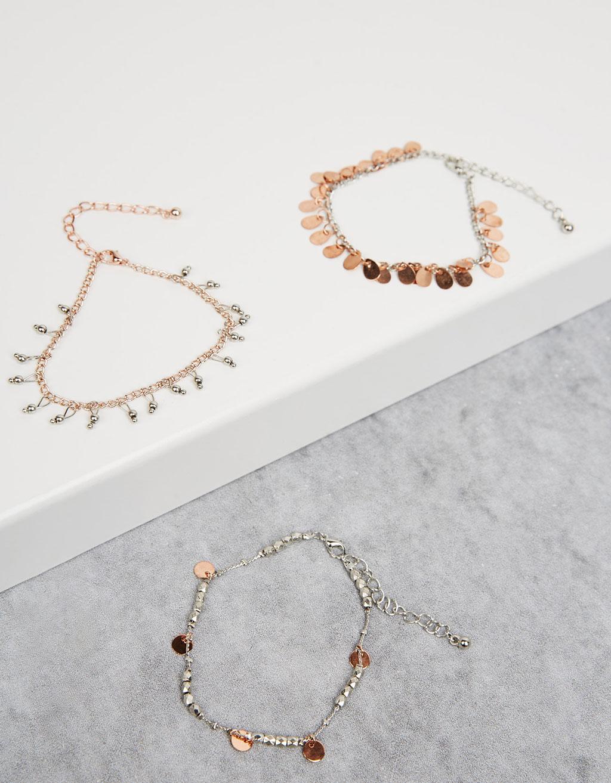 Charm ankle bracelet set