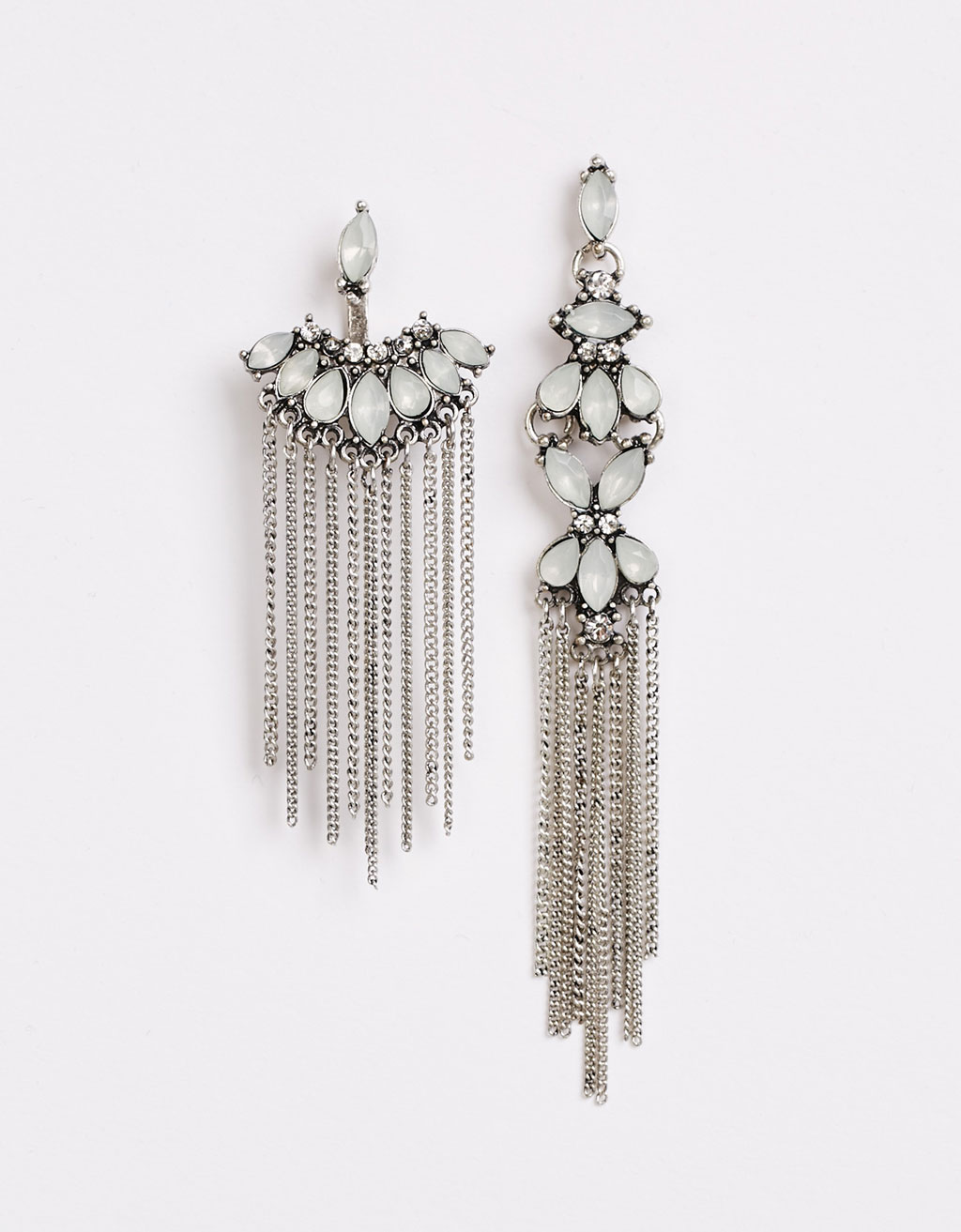 Long gem detail chain earrings