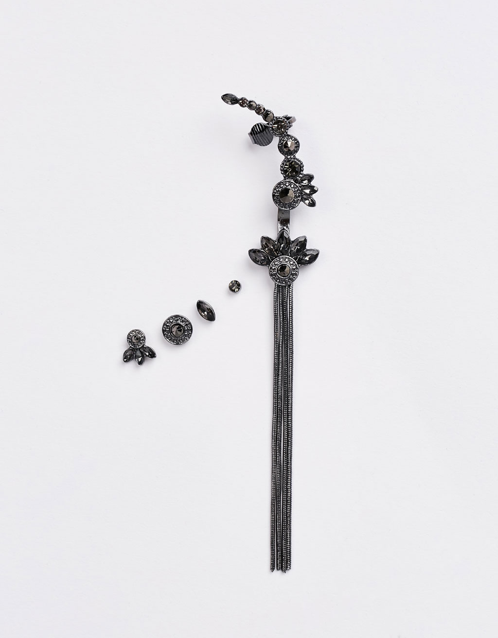 Set of black ear cuffs