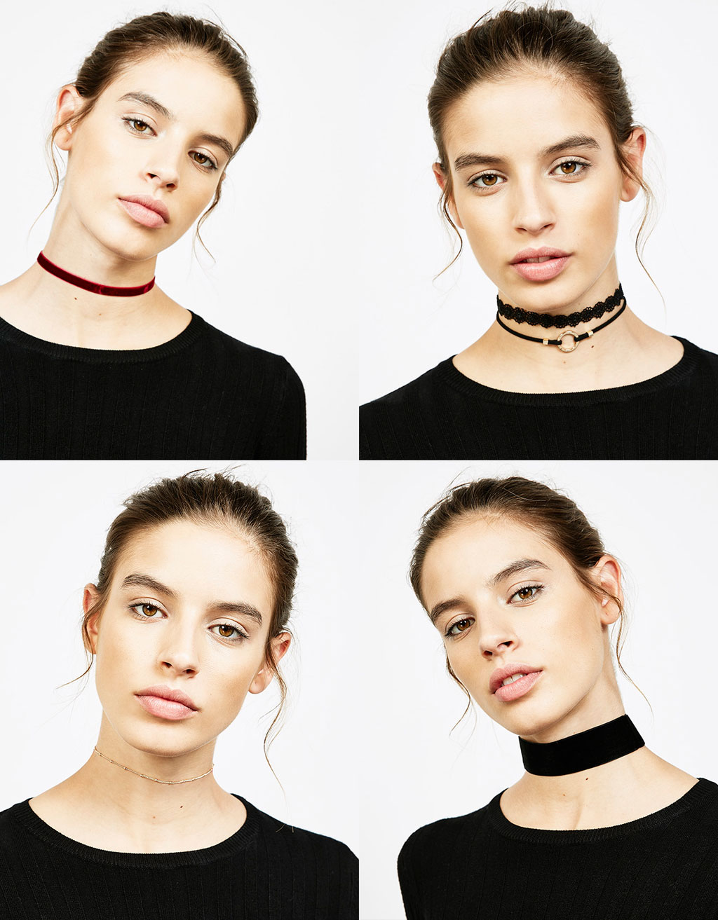 Set of various choker necklaces