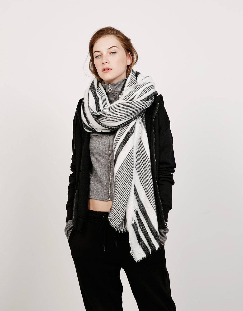 Black and white striped headscarf