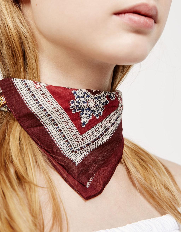 Burgundy bandana scarf